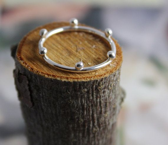 Six dotted sterling silver meditation ring - layer with simplicity ring, skinny band, stacking, yoga ring FROM my favorite jewelry maker, Shirley. Love everything she does. :)