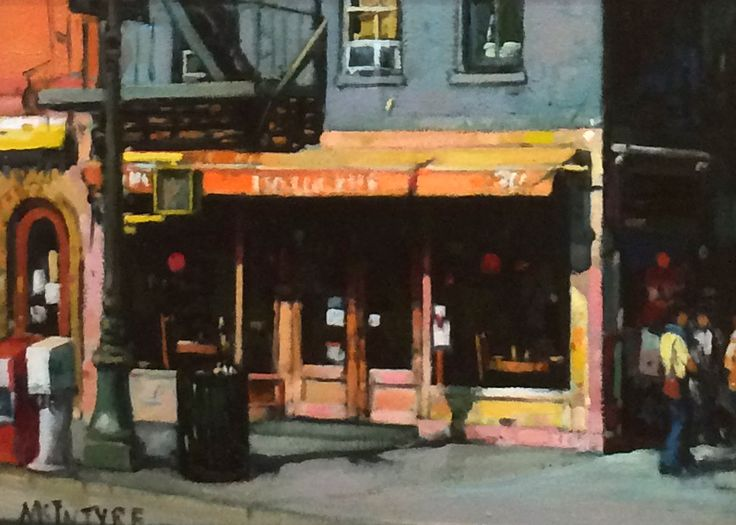 Joe McIntyre,Study for Balluchies, Cafe.Bar, Greenwich Village, New York,Oils,9x12 l Scottish Contemporary Art