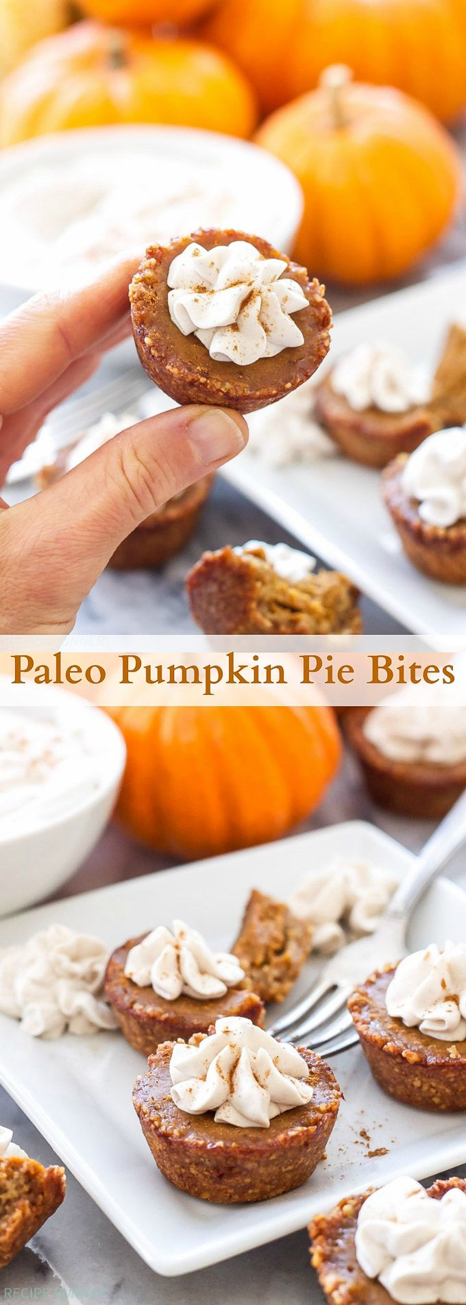 Paleo Pumpkin Pie Bites are the perfect sized dessert to serve after Thanksgiving dinner! Just big enough to satisfy your sweet tooth, plus you don't have to share.