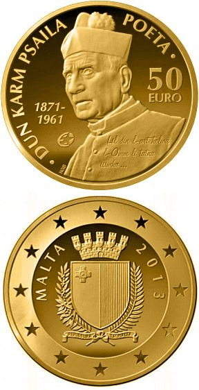 N♡T.50 euro: Dun Karm Psaila.Country: Malta Mintage year: 2013 Issue date: 01.02.2013 Face value: 50 euro Diameter: 21.00 mm Weight: 6.50 g Alloy: Gold Quality: Proof
