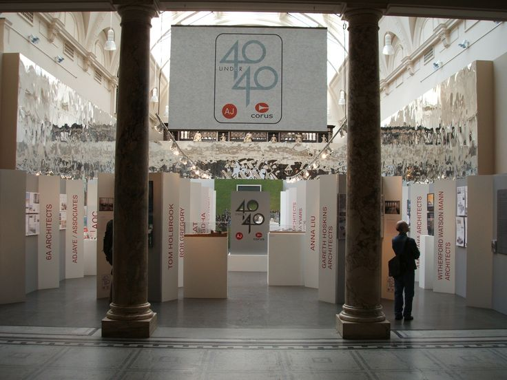 An exhibition designed and built by 4D Projects for the V&A Sculpture Court on behalf of Corus the steel makers and the Architect's Journal celebrating young architects 40 under 40