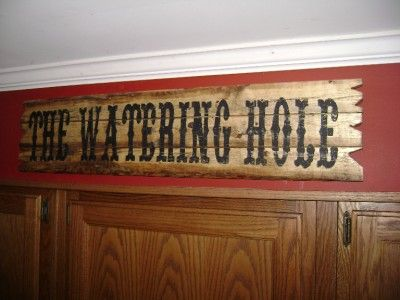Western Saloon Signs | Details about THE WATERING HOLE Western Bar Sign Natural Rustic Wood