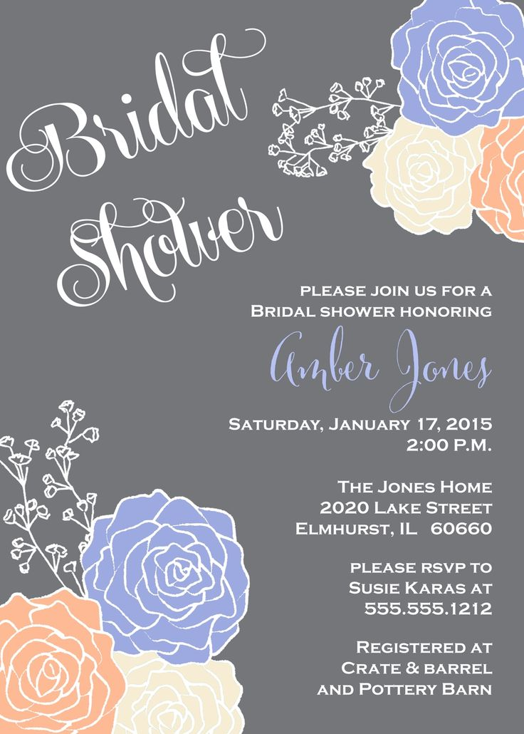 Perriwinkle Blue & Peach Bridal Shower Invitation, Gray Chalkboard