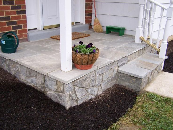 flagstone cover up the ugly concrete on our front porch - Cover Concrete Patio Ideas