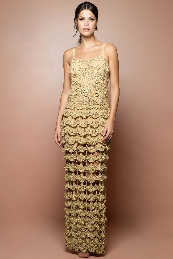 Vestido Crochet Cannes Dourado - Vanessa Montoro - vanessamontoro