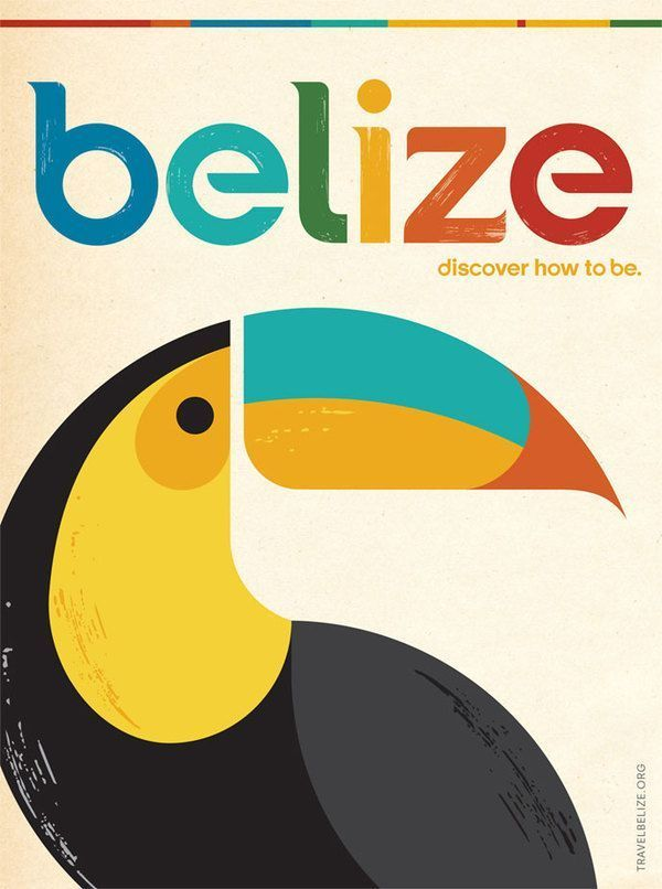 We love this colorful and retro #Belize poster!