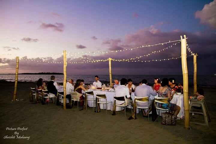 Beach reception setup. Fairy lights