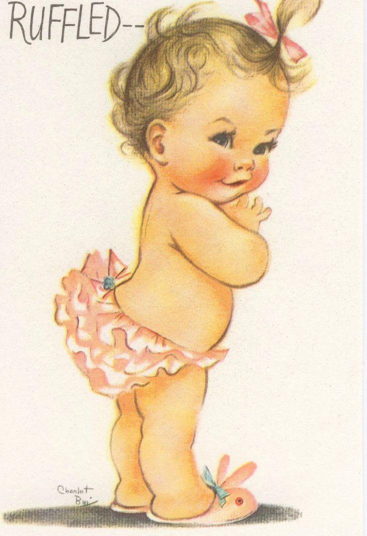 Vintage Charlot Byj Birthday Card, Baby Girl In Ruffled ...