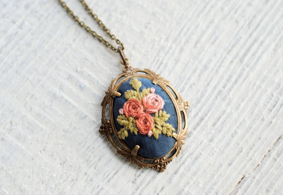 Embroidered Rose Pendant Vintage silk necklace pink by stoastn