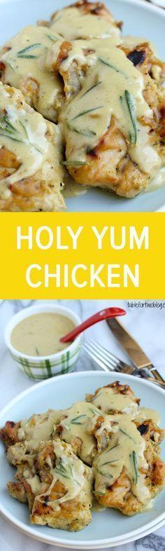 Holy Yum Chicken Recipe: boneless skinless chicken thighs, Dijon mustard, maple syrup, rice wine vinegar, salt, pepper, cornstarch and fresh rosemary. ⓒⓗⓘⓒⓚⓔⓝ