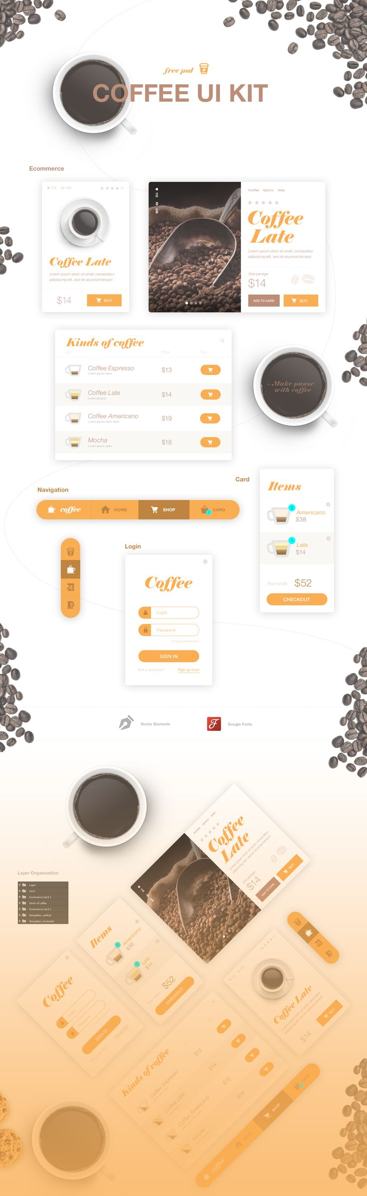 Coffee UI Kit - Free Psd on Behance