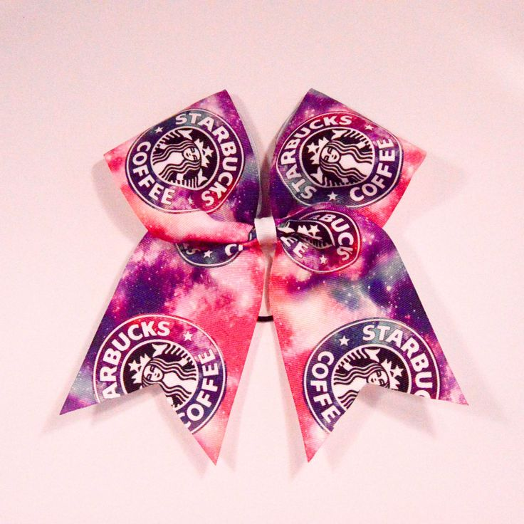 "Galaxy Starbucks Cheer Bow - Chicago Cubs Thermal Print on Grosgrain Ribbon - 7"" across by 8"" down - Purchase 1 or more - Ask for pricing for team orders"