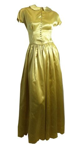 Golden Yellow Slipper Satin Evening Gown circa 1940s Emma Domb - Dorothea's Closet Vintage