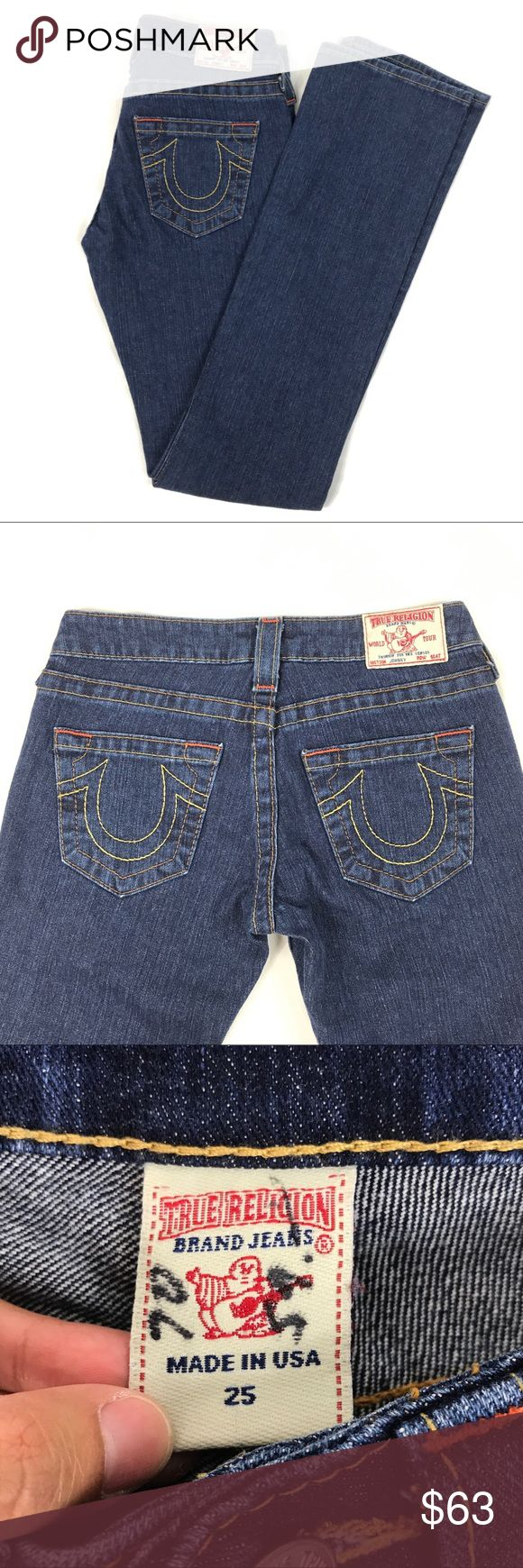 "True Religion Johnny Dark Wash Denim Straight Leg NWT! Size - 25. Width - 13.5"". Length - 42"". Minor defect on inner tag; else, excellent condition. True Religion Jeans Straight Leg"
