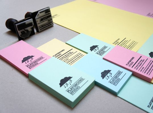 """""""A re-branding project for a music laboratory with a philosophy that music is part and parcel of life, even a storm breaks out in notes. Business cards and letterheads using ink stamps and recycled color papers easily obtainable at the local stationery stores. They can be printed on a need basis – a truly sustainable and green effort without exercising the printing press."""""""