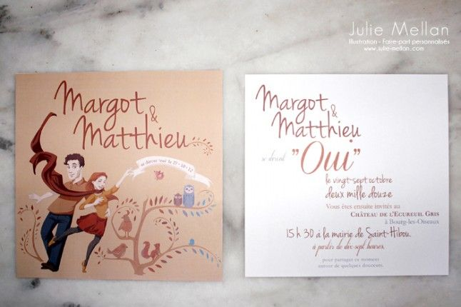 Faire-part mariage illustré par Julie Mellan