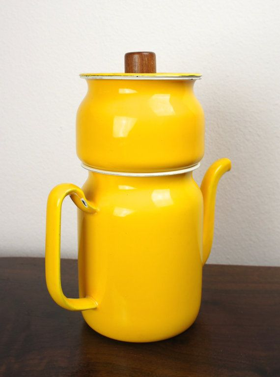 Vintage Yellow Drip Coffee Maker Japanese by TheLionsDenStudio