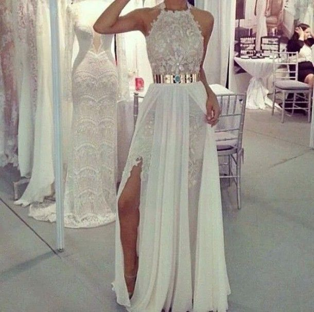 Elegante Vestido de Baile Branco Longo Com Fenda 2016 Apliques Tanque Vestido do Baile de finalistas Com Trem Destacável Metal Sash Chiffon Vestidos de Festa
