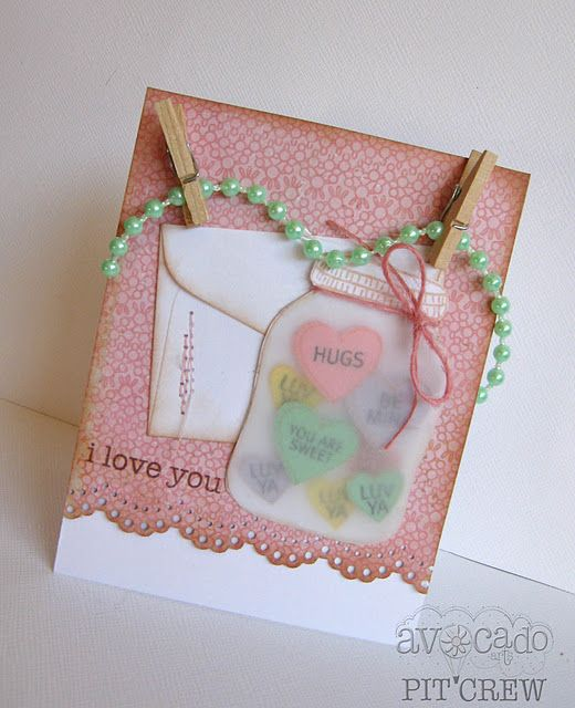 wonderful use of vellumCards Ideas, Canning Jars, Valentine Day Cards, Sweets Treats, Valentine Cards, Emily Branches, Scrapbook Jars, Mason Jars Stamps, Heart Cards