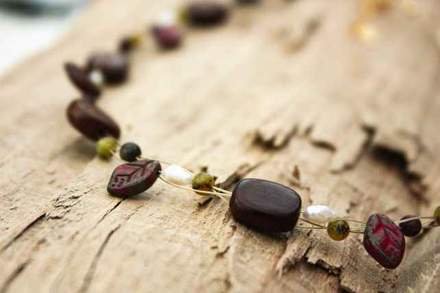 Roble Wood, Jasper, Wild Pearl, Agate and Czech Glass Choker Necklace £16.00