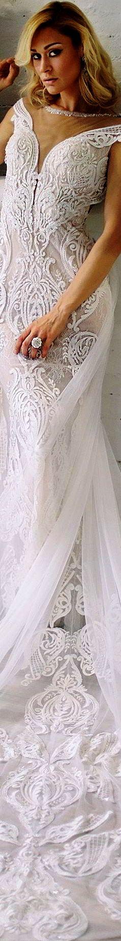 Sarah Jassir Bridal 2018 off shoulder deep V-neck illusion jewel neckline cap sleeves sheath lace wedding dress andi chapel train elegant