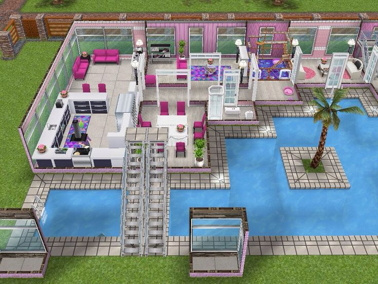 House 101 barbies dream house ground level #sims #simsfreeplay #simshousedesign