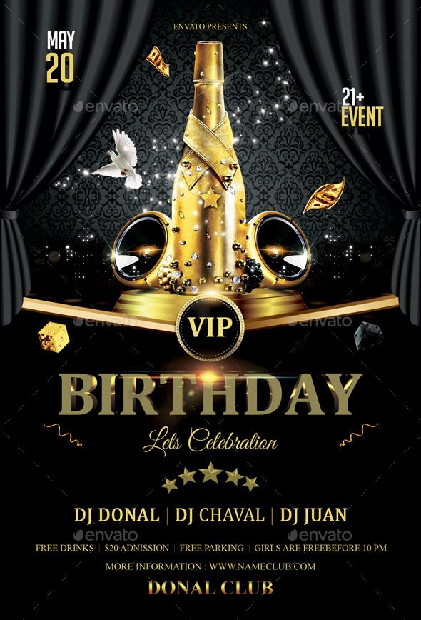 VIP Birthday Flyer Vip, Font logo and Flyer template - birthday flyer template