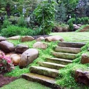 Home Landscape Slope Backyard With Stones , Sloped Backyard Home Landscape In Landscaping And Outdoor Building Category
