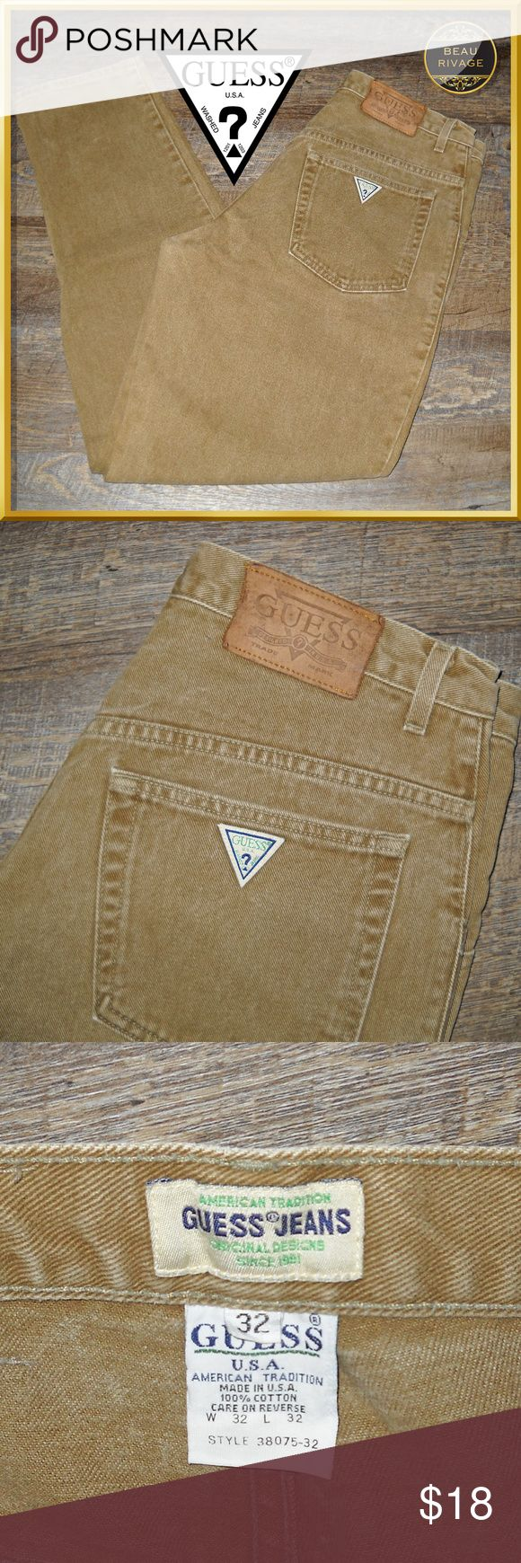 Guess Jeans Mens Vintage Brown Size 32 Men's Guess Jeans Vintage. Bought in the early 90's and well taken care of.  Size 32 waist  32 inseam, tapered leg   100% cotton   MADE IN USA   Machine wash separately, warm water   Tumble dry low   No trades please   Please use offer button   Pet free and smoke free home GUESS Jeans