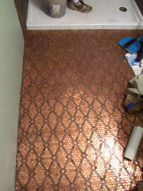 Penny Tile Floor penny floor copper penny tile floor The Penny Floor Project Sunflower River