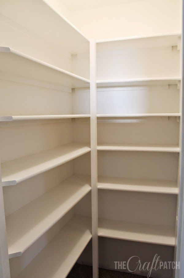 How to Build Pantry Shelves. These shelves are strong and inexpensive. Tips for how to decide on spacing too!