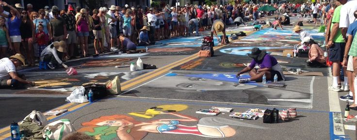 Starting in 2010 and every year since, the Chalk Festival features the most 3D pavement paintings ever created in one location