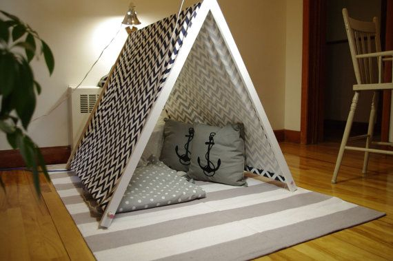 Kids play tent fabric in wood by lesgirouettes on Etsy