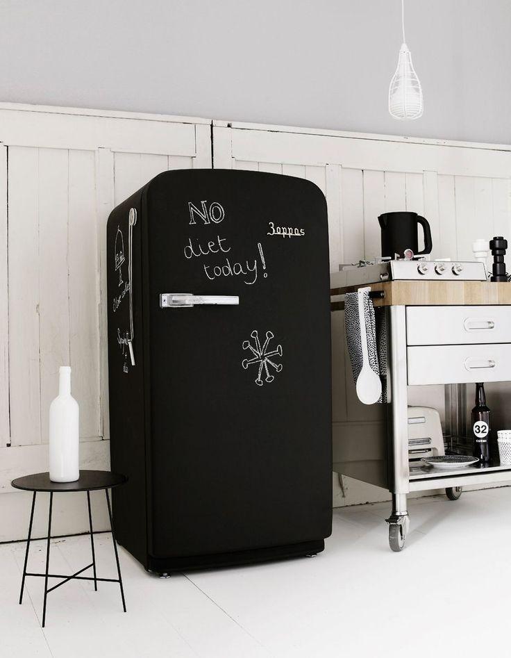 75+ идей доски для мела в интерьере: модно, удобно и функционально http://happymodern.ru/doska-dlya-mela-v-interere/ Холодильник - отличное поле для творчества и шутливых надписей