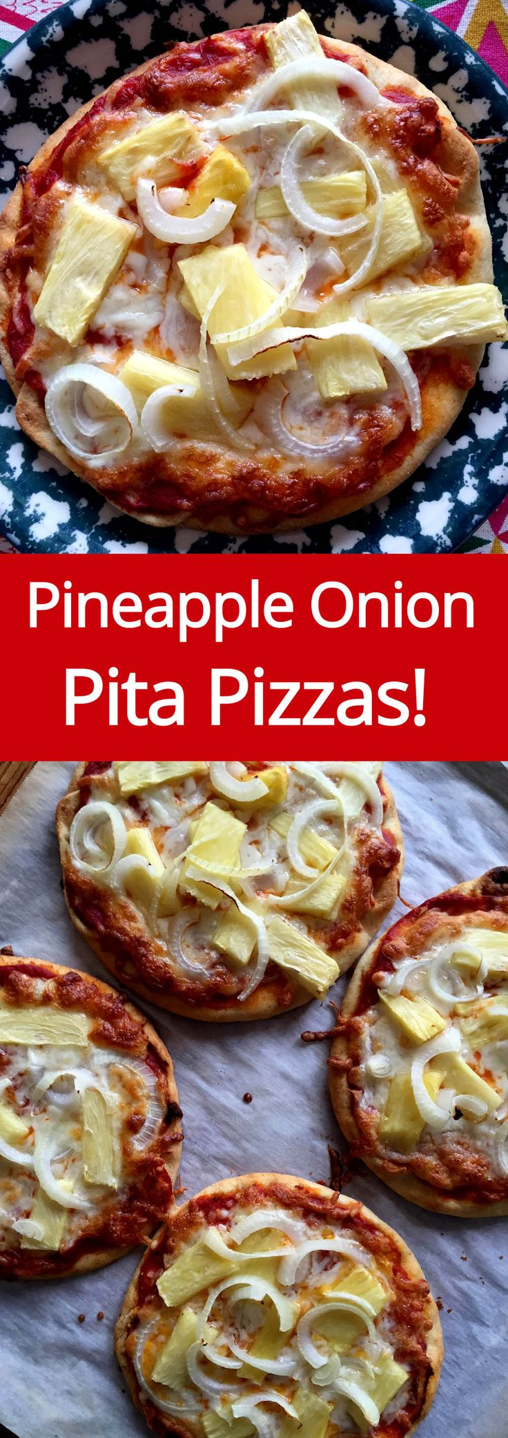 Pineapple Onion Pita Pizza Recipe - super easy way to make individual pizzas! (from MelanieCooks.com)