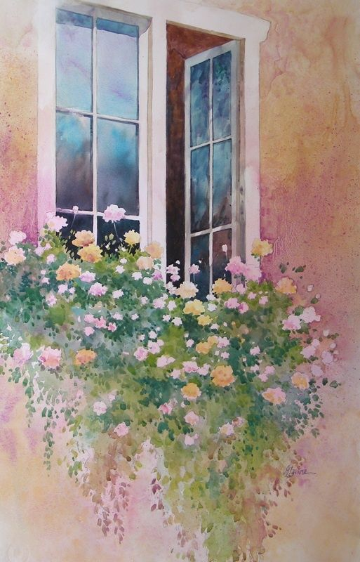 flowers at the window, watercolor: