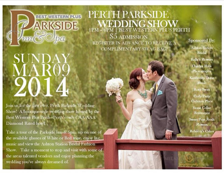 Advertisements for the first ever Perth Parkside Wedding Show held March 9,2014!!