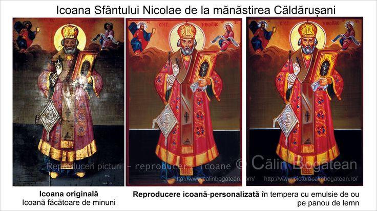 Sfântul Nicolae de la Căldărușani copie icoană pe lemn reproducere pictură tradițională bizantină  ortodoxă icoană originală lucrare de artă iconografică pictură în tempera pe lemn pictată de pictorul Călin Bogătean un urmaș al vechilor iconari pictor profesionist membru al Uniunii Artiștilor Plastici icoană pe lemn cu Sfântul Nicolae de la Căldărușani