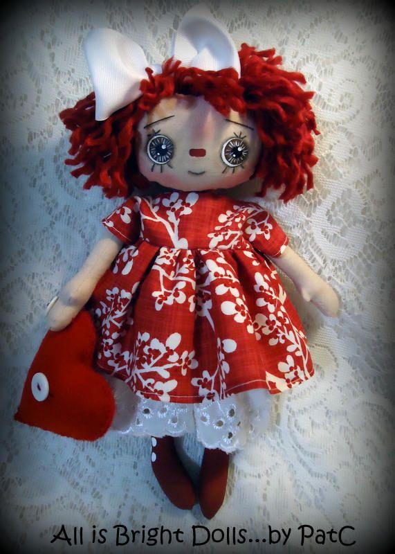 Primitive Raggedy Annie, Prim Rag Doll, Whimsical Doll, Country Prim Decor, Handpainted Doll, All is Bright Dolls, OOAK, 11 inch, Valentine by Allisbright on Etsy