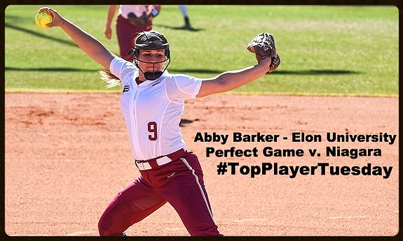 #TopPlayerTuesday   First perfect game in Elon Softball History! Congrats Abby Barker!
