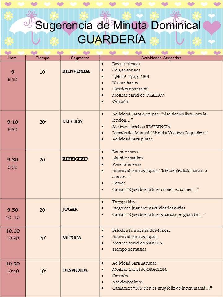 Sugerencia Minuta Dominical para la GUARDERÍA (lds)