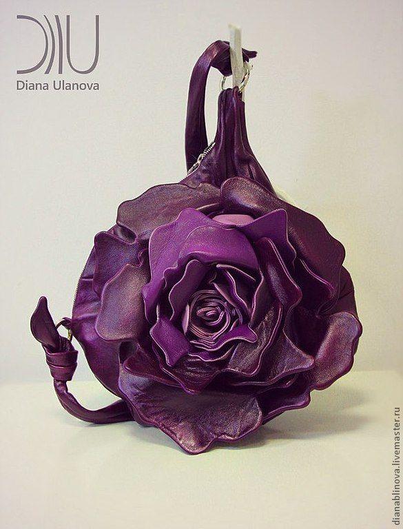 """Сумка кожаная """"Роза МАКСИ"""".. - серебряный,белый жемчуг,розовый,сумка оригинальная"""