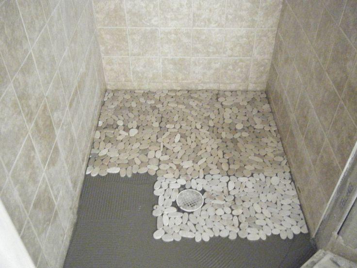 astonishing grey ceramic wall and pebble shower floor tile inside small shower room