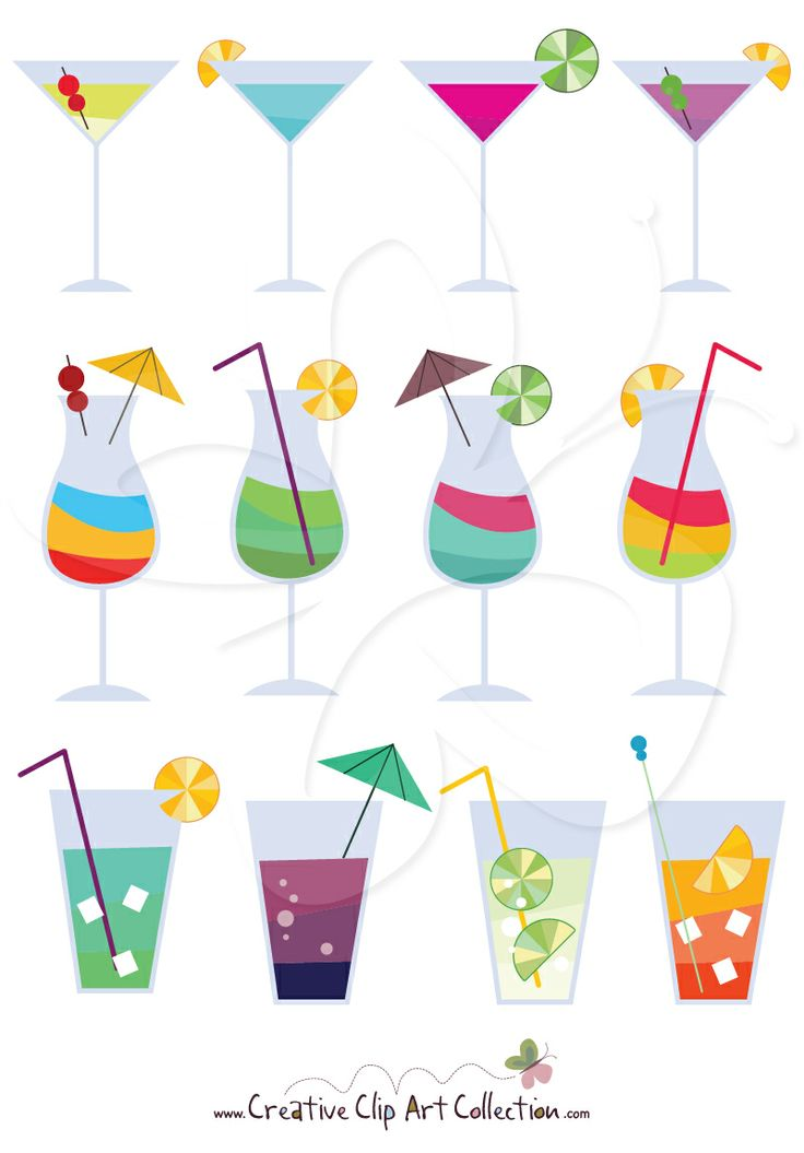 A #colorful #cocktail #cocktails #clipart set from Creative Clip Art Collection. Perfect for all your #DIY #Handmade #Craft and #Decorating projects.