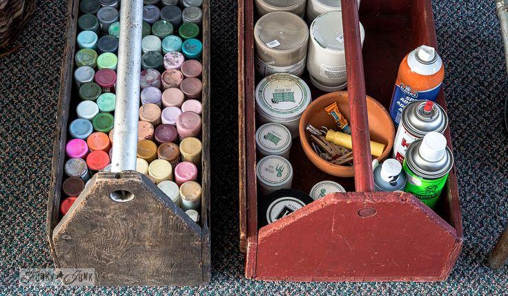 Toolbox ambachtelijke opslag verf door FunkyJunkInteriors.net