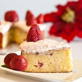 Gloriously moist gluten-free strawberry potato cake which is suitable for a low FODMAP diet.