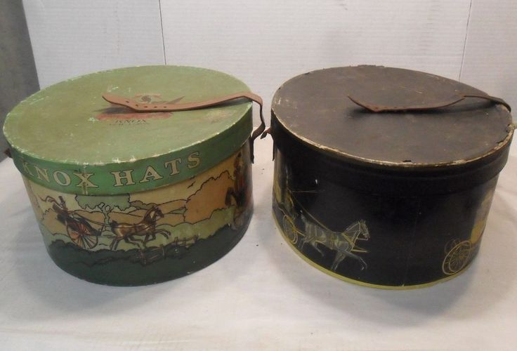 2 RARE OVAL ANTIQUE KNOX HAT BOX 2 large oval hat boxes antique dobbs hat BOX