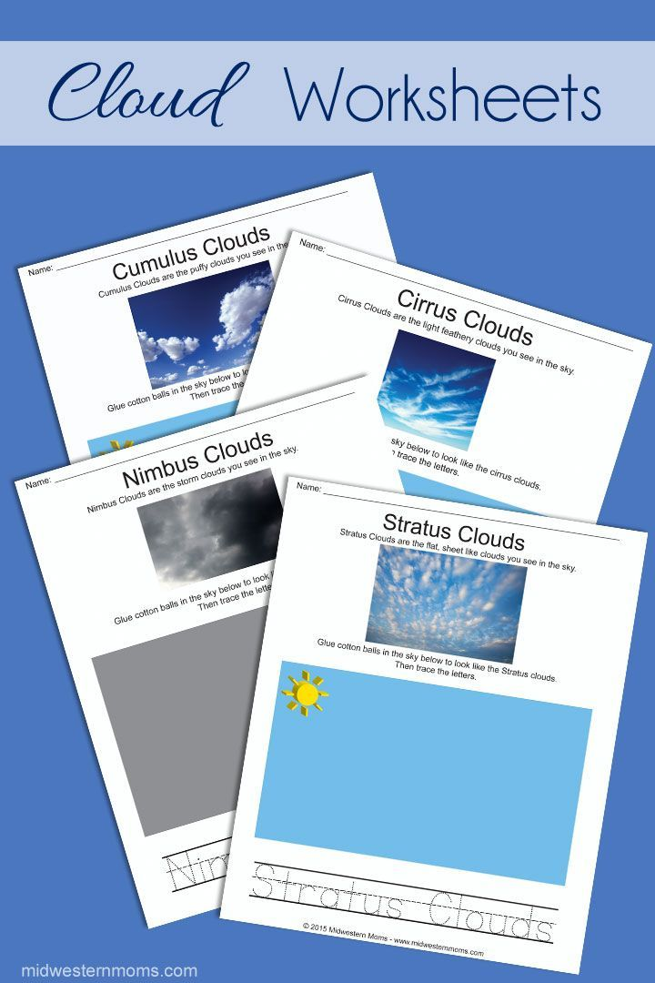Mom, What type of clouds are those? Fun worksheets for Preschoolers to learn the four types of clouds.