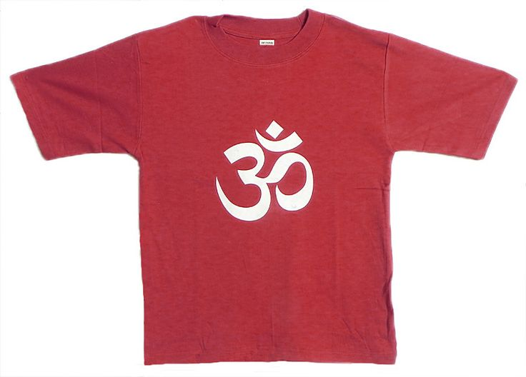 Hand Painted Om on Red T-Shirt (Cotton)