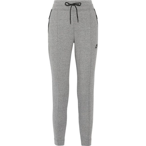 Nike Tech Fleece cotton-blend track pants (141 AUD) ❤ liked on Polyvore featuring activewear, activewear pants, pants, sweatpants, nike sweatpants, nike, green sweatpants, nike activewear pants and sweat pants